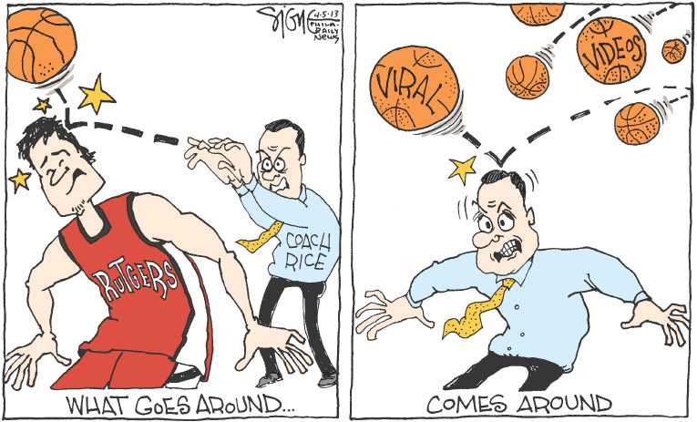 Political/Editorial Cartoon by Signe Wilkinson, Philadelphia Daily News on Rutgers Coached Fired