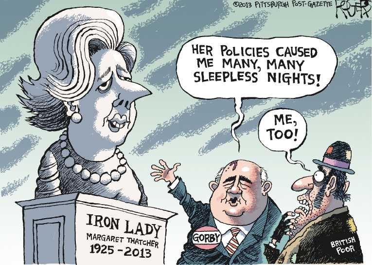 Political/Editorial Cartoon by Rob Rogers, The Pittsburgh Post-Gazette on Margaret Thatcher Dies