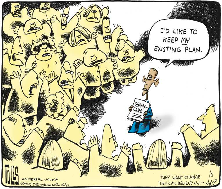 Political/Editorial Cartoon by Tom Toles, Washington Post on ObamaCare Battle Escalating
