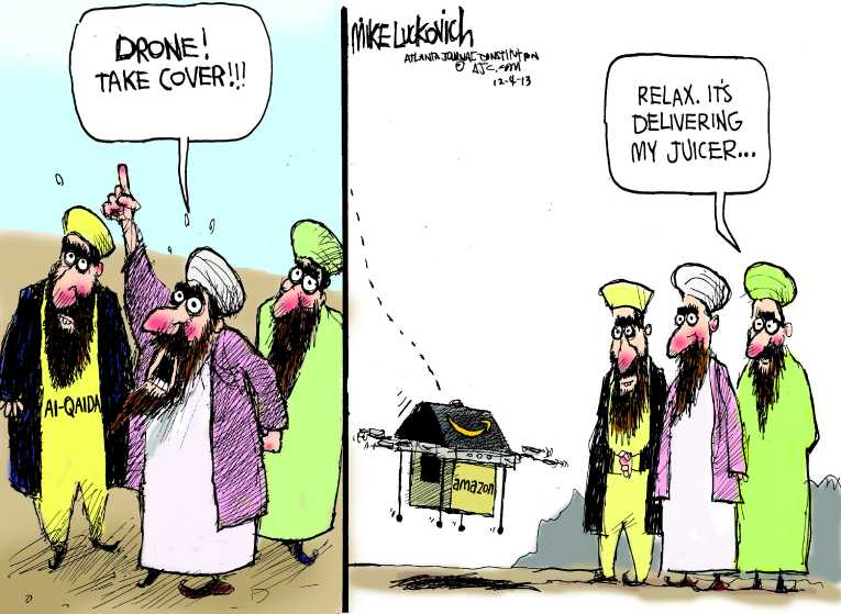 Political/Editorial Cartoon by Mike Luckovich, Atlanta Journal-Constitution on Drone Plans Expand