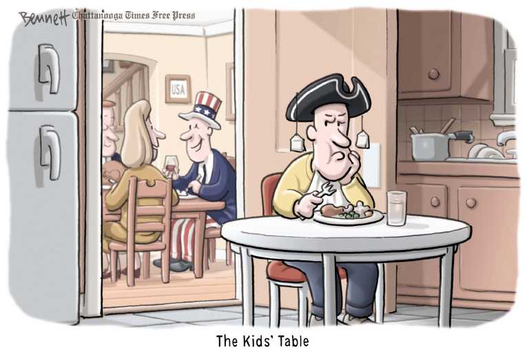 Political/Editorial Cartoon by Clay Bennett, Chattanooga Times Free Press on Thanksgiving Remembered