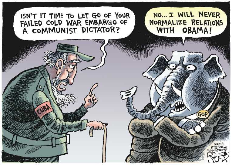 Political Cartoon On Obama Normalizes Cuba Relations By Rob Rogers
