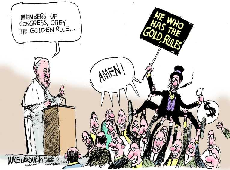 Political Cartoon On Pope Visits Congress By Mike