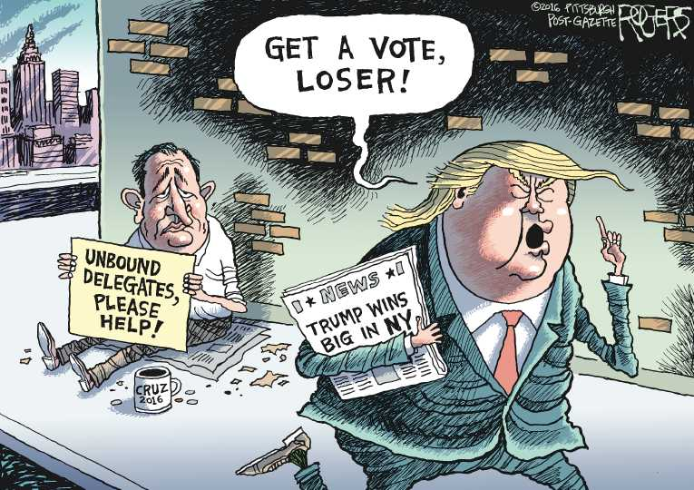 Political Cartoon On Trump Wins New York By Rob Rogers