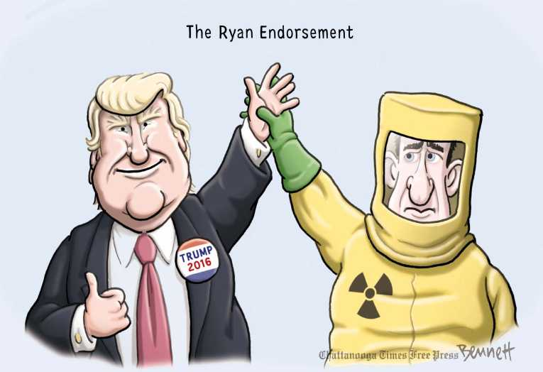 Political/Editorial Cartoon by Clay Bennett, Chattanooga Times Free Press on Dump Trump Movement Grows