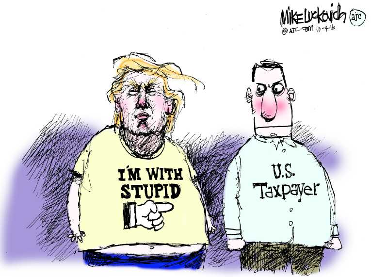 Political/Editorial Cartoon by Mike Luckovich, Atlanta Journal-Constitution on Trump Pays No Income Taxes