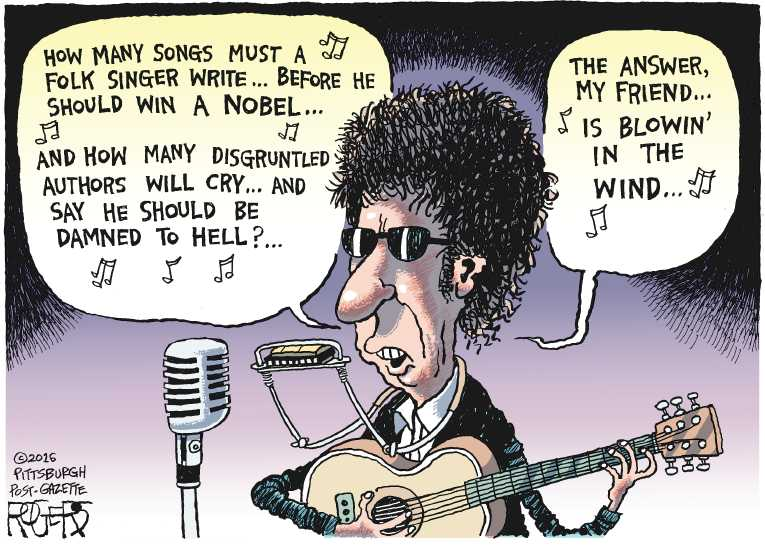 Political/Editorial Cartoon by Rob Rogers, The Pittsburgh Post-Gazette on Bob Dylan Wins Nobel Prize