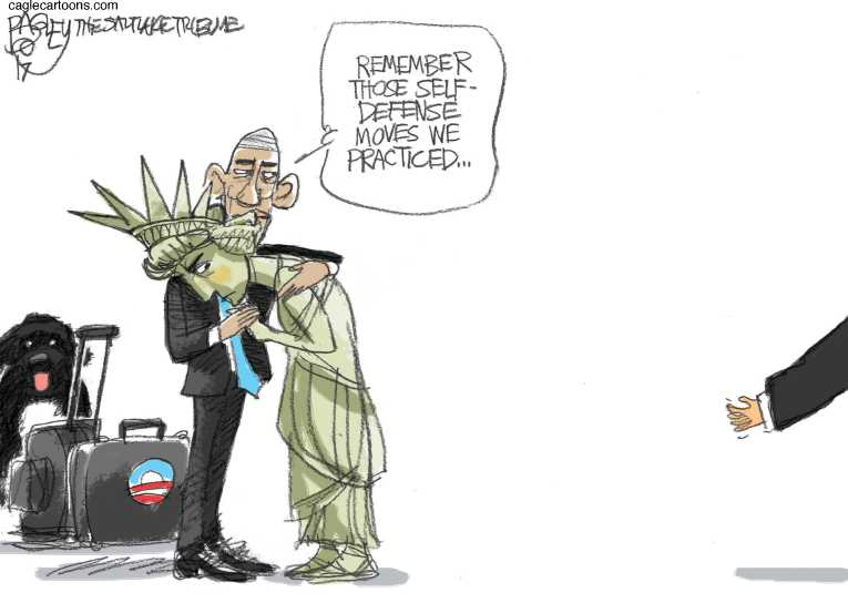 Political/Editorial Cartoon by Pat Bagley, Salt Lake Tribune on Obama Era Over