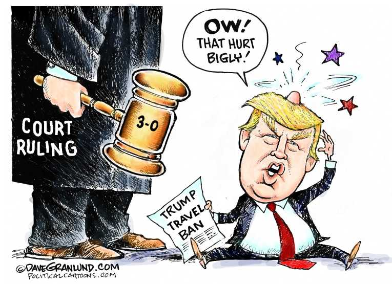 Political Cartoon On Trump To Battle Courts By Dave