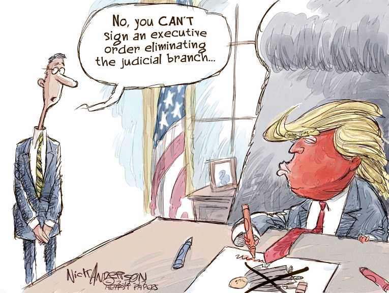Political Cartoon On Trump To Battle Courts By Nick