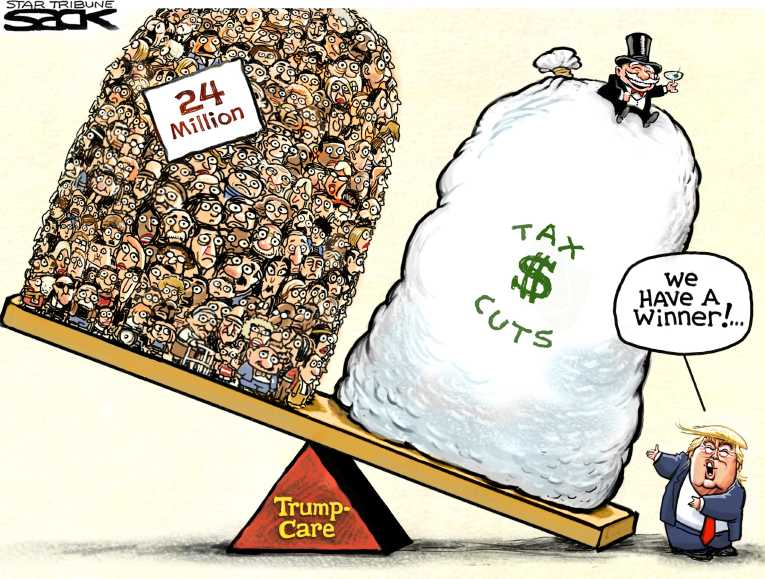 Political/Editorial Cartoon by Steve Sack, Minneapolis Star Tribune on Health Plan Details Revealed