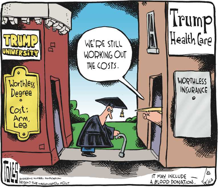Political/Editorial Cartoon by Tom Toles, Washington Post on Health Plan Details Revealed