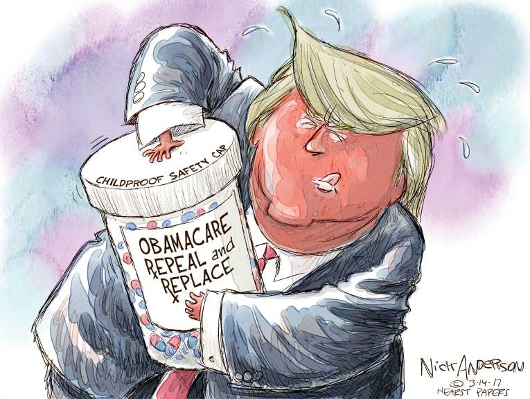 Political/Editorial Cartoon by Nick Anderson, Houston Chronicle on Health Plan Details Revealed