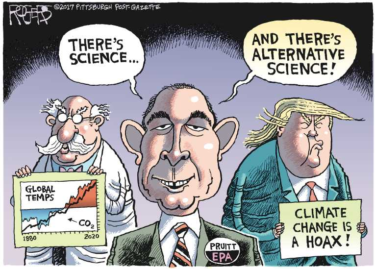 Political/Editorial Cartoon by Rob Rogers, The Pittsburgh Post-Gazette on Pruitt Takes Charge