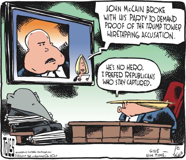 Political/Editorial Cartoon by Tom Toles, Washington Post on Wiretapping Charges Escalate