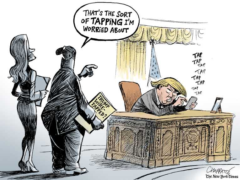 Political/Editorial Cartoon by Patrick Chappatte, International Herald Tribune on Wiretapping Charges Escalate