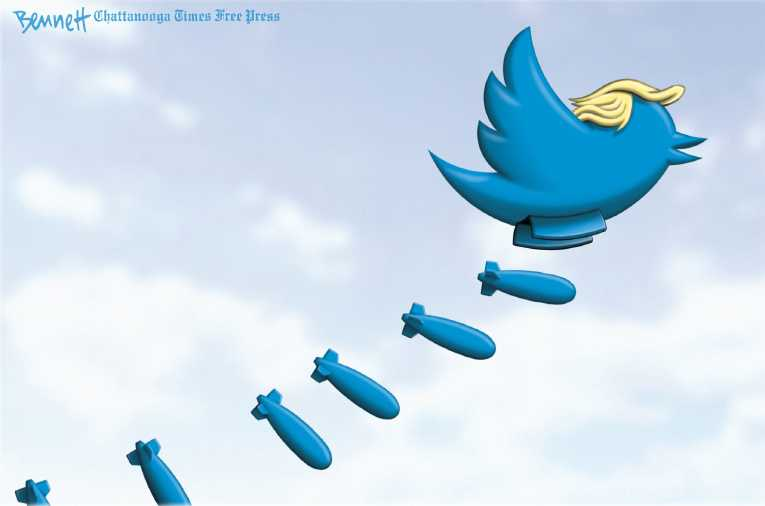 Political/Editorial Cartoon by Clay Bennett, Chattanooga Times Free Press on Trump Flying High