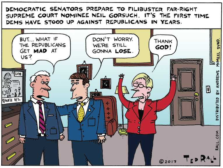 Political/Editorial Cartoon by Ted Rall on Gorsuch Sworn In