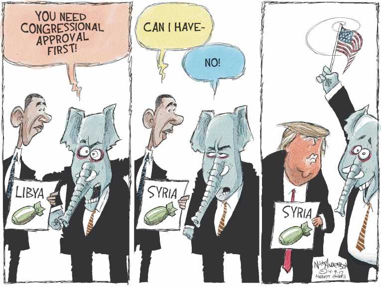 Political/Editorial Cartoon by Nick Anderson, Houston Chronicle on Trump Bombs Syria