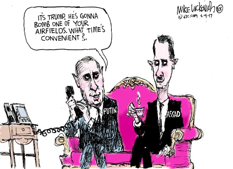 Political/Editorial Cartoon by Mike Luckovich, Atlanta Journal-Constitution on Trump Bombs Syria