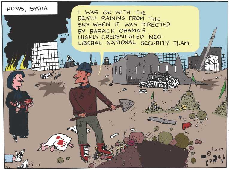 Political/Editorial Cartoon by Ted Rall on Trump Bombs Syria