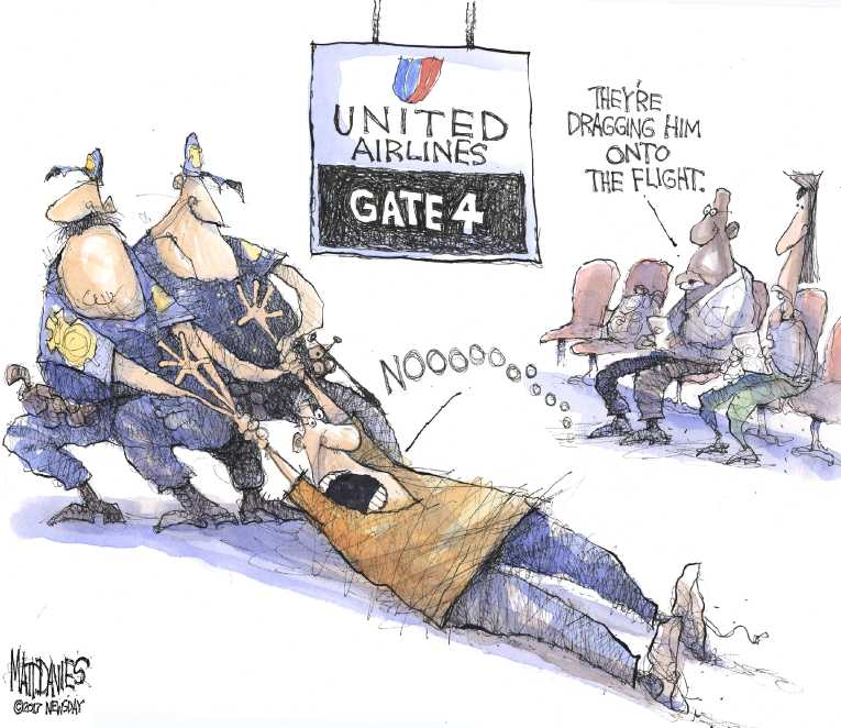 Political/Editorial Cartoon by Matt Davies, Journal News on United Airlines Crashes