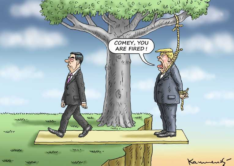 Political/Editorial Cartoon by Marian Kemensky, Slovakia on Comey Firing Story Revised