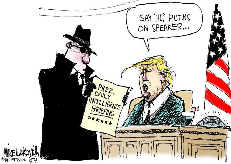 Political/Editorial Cartoon by Mike Luckovich, Atlanta Journal-Constitution on Trump Shares Intel With Russians