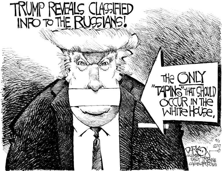 Political/Editorial Cartoon by John Darkow, Columbia Daily Tribune, Missouri on Trump Shares Intel With Russians