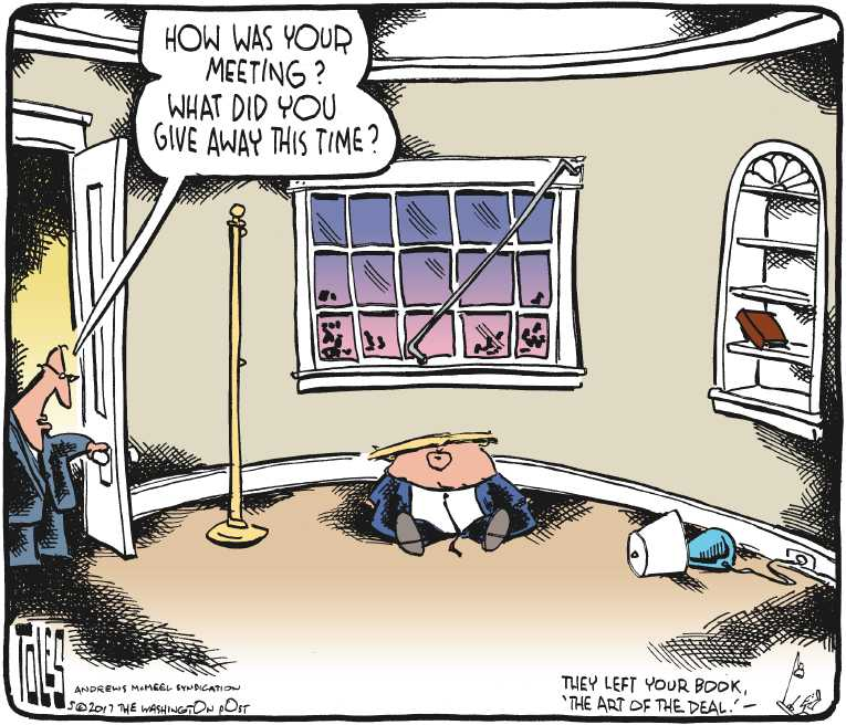 Political/Editorial Cartoon by Tom Toles, Washington Post on Trump Shares Intel With Russians
