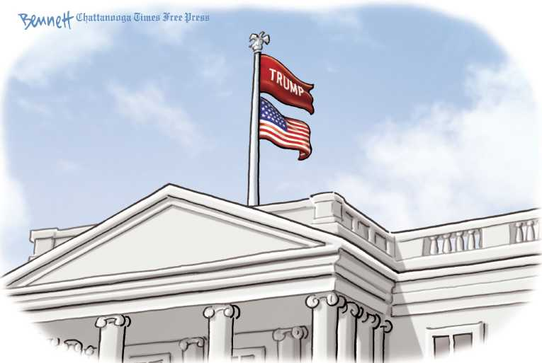 Political/Editorial Cartoon by Clay Bennett, Chattanooga Times Free Press on President Proud of Performance