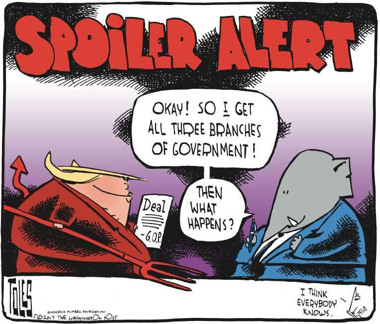 Political/Editorial Cartoon by Tom Toles, Washington Post on President Proud of Performance