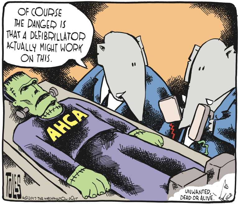 Political/Editorial Cartoon by Tom Toles, Washington Post on Health Plan in Senate