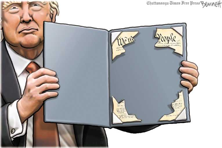 Political/Editorial Cartoon by Clay Bennett, Chattanooga Times Free Press on Trump Delivers on Promises