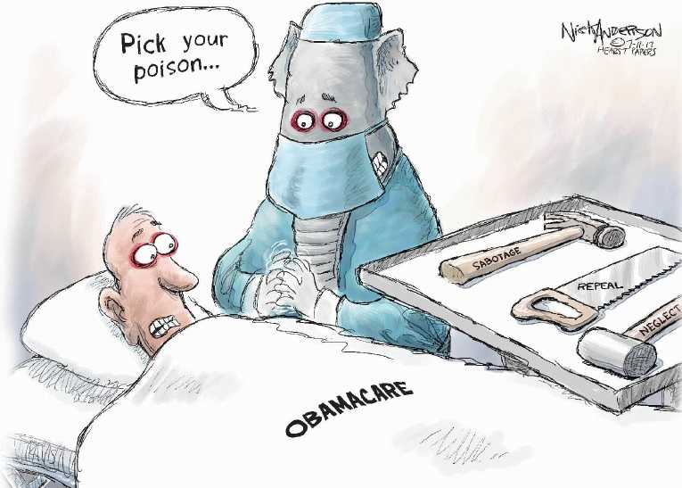 Political/Editorial Cartoon by Nick Anderson, Houston Chronicle on Senate Health Bill Stalled
