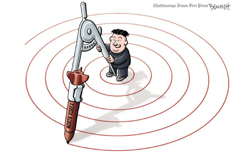 Political/Editorial Cartoon by Clay Bennett, Chattanooga Times Free Press on North Korea Launches Test Missle