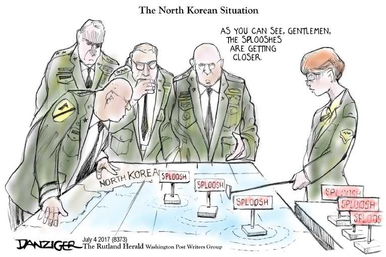 Political/Editorial Cartoon by Jeff Danziger on North Korea Launches Test Missle