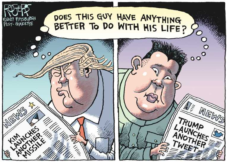 Political/Editorial Cartoon by Rob Rogers, The Pittsburgh Post-Gazette on North Korea Launches Test Missle