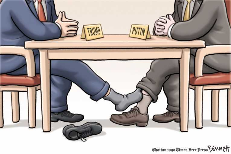 Political/Editorial Cartoon by Clay Bennett, Chattanooga Times Free Press on Trump and Putin Hit It Off