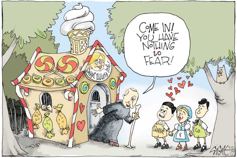 Political/Editorial Cartoon by Signe Wilkinson, Philadelphia Daily News on Campaign Secretly Met Russians
