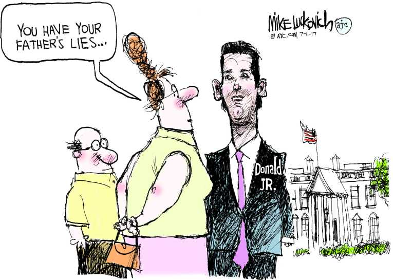 Political/Editorial Cartoon by Mike Luckovich, Atlanta Journal-Constitution on Campaign Secretly Met Russians