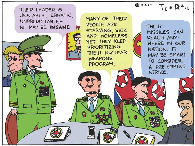 Political/Editorial Cartoon by Ted Rall on War of Nuclear Words
