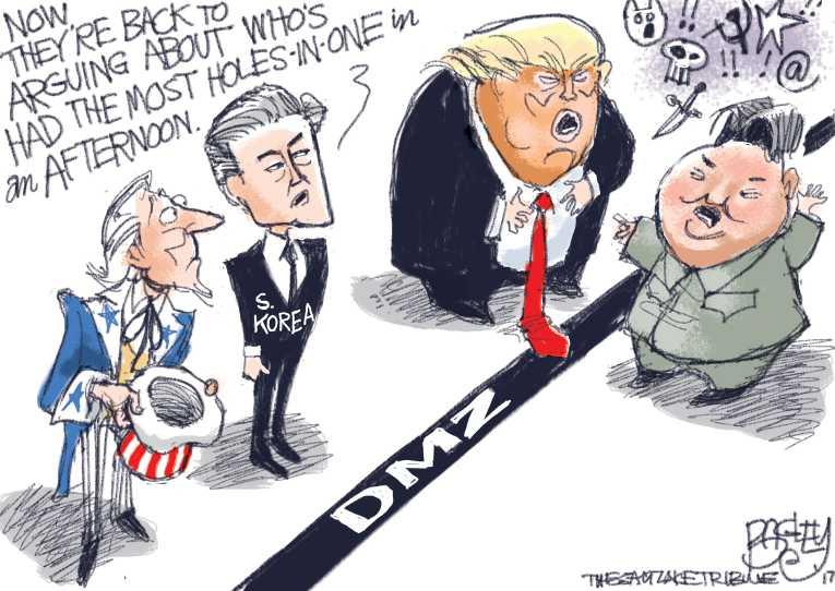 Political/Editorial Cartoon by Pat Bagley, Salt Lake Tribune on War of Nuclear Words