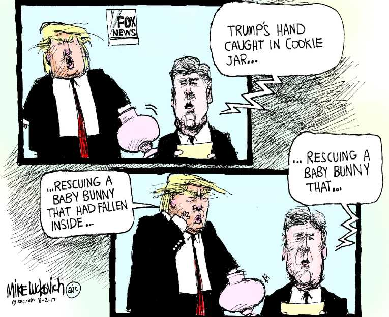 Political/Editorial Cartoon by Mike Luckovich, Atlanta Journal-Constitution on Trump Takes a Vacation