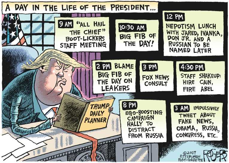 Political/Editorial Cartoon by Rob Rogers, The Pittsburgh Post-Gazette on Trump Takes a Vacation