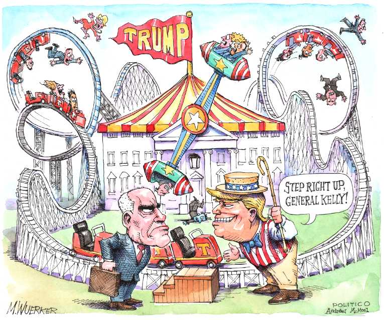 Political/Editorial Cartoon by Matt Wuerker, Politico on Trump Staff in Turmoil