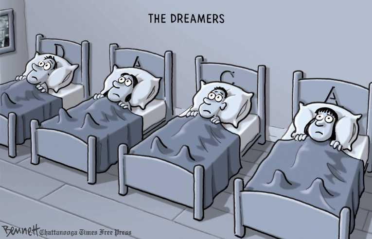 Political/Editorial Cartoon by Clay Bennett, Chattanooga Times Free Press on Trump Rescinds DACA