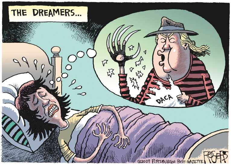 Political/Editorial Cartoon by Rob Rogers, The Pittsburgh Post-Gazette on Trump Rescinds DACA