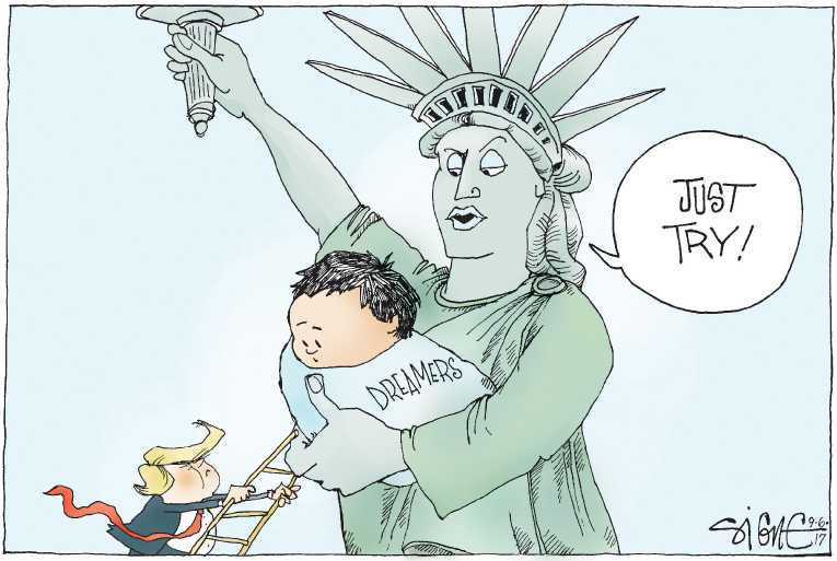 Political/Editorial Cartoon by Signe Wilkinson, Philadelphia Daily News on Trump Rescinds DACA