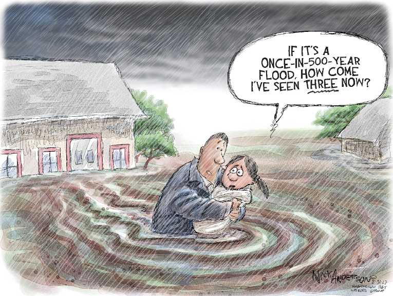 Political/Editorial Cartoon by Nick Anderson, Houston Chronicle on Houston Recovery Begins